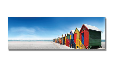 Strandhuisjes - Canvas Schilderij Panorama 120 x 40 cm