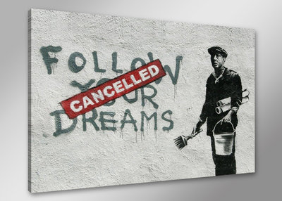 Banksy Follow Your Dreams - Canvas Schilderij 80 x 60 cm
