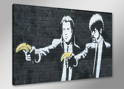 Banksy Pulp Fiction - Canvas Schilderij 80 x 60 cm
