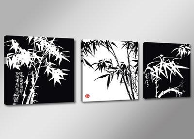Bamboe Zwart-Wit - Canvas Schilderij Drieluik 150 x 50 cm