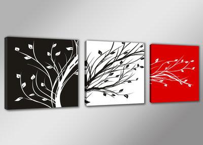 Bomen Waaien - Canvas Schilderij Drieluik 150 x 50 cm