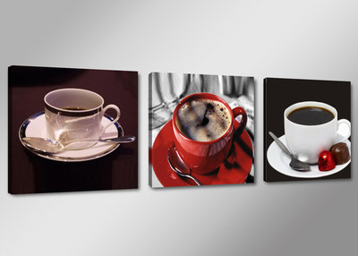 Koffie - Canvas Schilderij Drieluik 150 x 50 cm