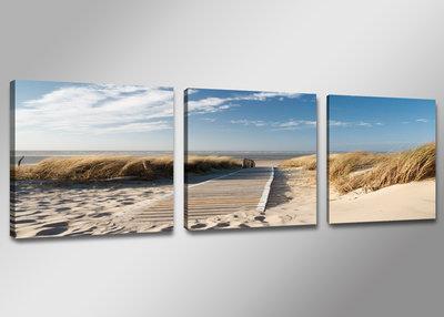 Strand - Canvas Schilderij Drieluik 150 x 50 cm