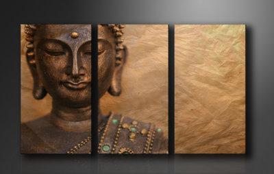 Buddha - Canvas Schilderij Drieluik 160 x 90 cm