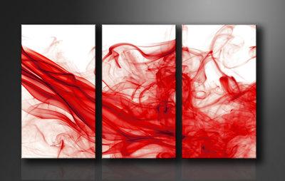 Rode Rook - Canvas Schilderij Drieluik 160 x 90 cm