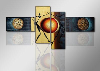 Dansende Dames - Canvas Schilderij Vierluik 195 x 80 cm