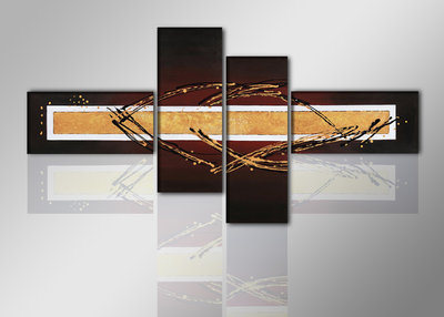 Abstract 'Matthijs' - Canvas Schilderij Vierluik 195 x 80 cm