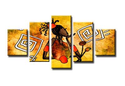 Vrouw - Canvas Schilderij Vijfluik 160 x 80 cm