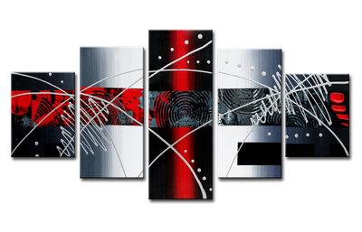 Abstract 'Kyran' - Canvas Schilderij Vijfluik 160 x 80 cm