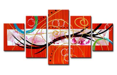 Abstract 'Rob' - Canvas Schilderij Vijfluik 160 x 80 cm