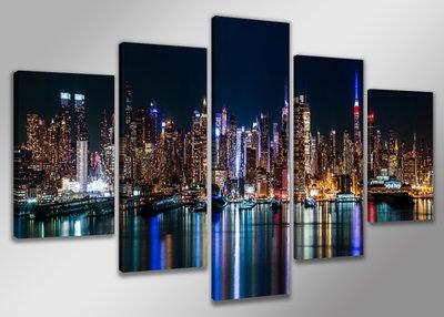 New York - Canvas Schilderij Vijfluik 200 x 100 cm