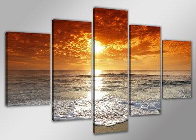 Strand - Canvas Schilderij Vijfluik 200 x 100 cm