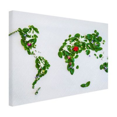Wereldkaart met bladeren en bloemen - Canvas