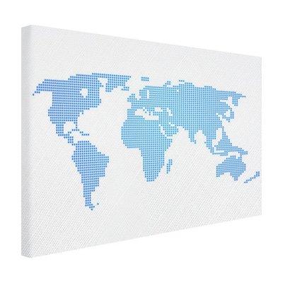 Lichtblauwe wereldkaart - Canvas