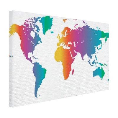Wereldkaart felgekleurd - Canvas