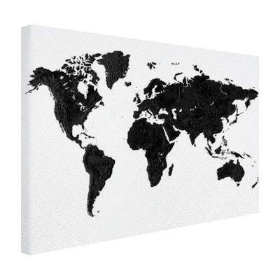 Wereldkaart zwart - Canvas