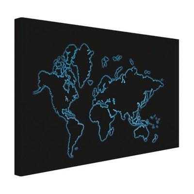 Wereldkaart blauw op zwart - Canvas