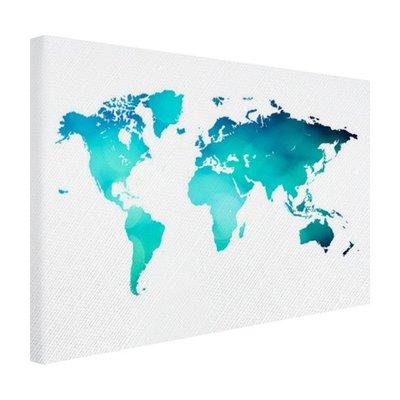 Wereldkaart turquoise - Canvas