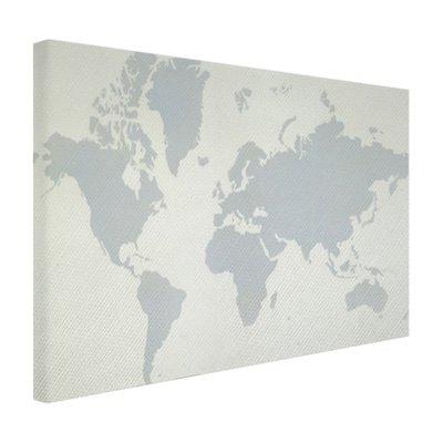 Wereldkaart met grijstinten - Canvas
