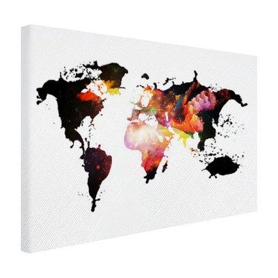 Wereldkaart diverse kleuren - Canvas