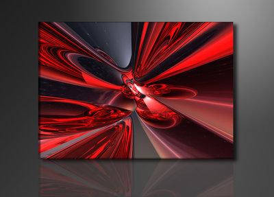 Abstract Rood en Zilver - Canvas Schilderij 120 x 80 cm