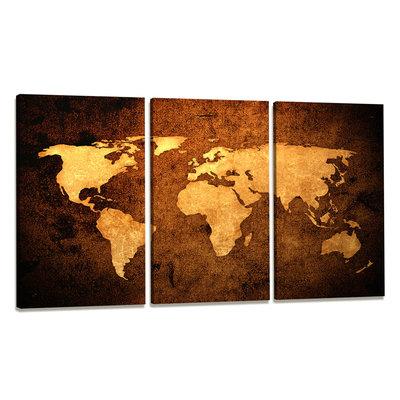 Wereldkaart - Canvas Schilderij Drieluik 160 x 90 cm