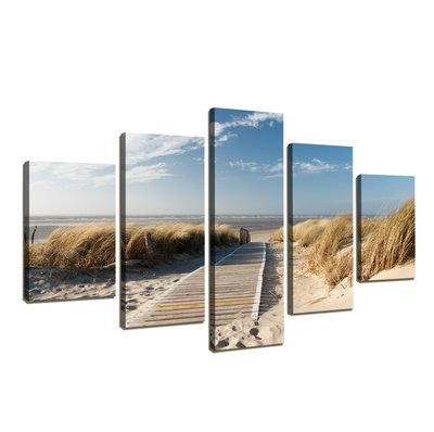 Strand - Canvas Schilderij Vijfluik 160 x 80 cm