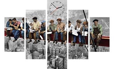 canvas klok vijf delen new york bouwvakkers mooie