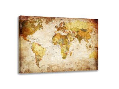 Wereldkaart - Canvas Schilderij 80 x 60 cm