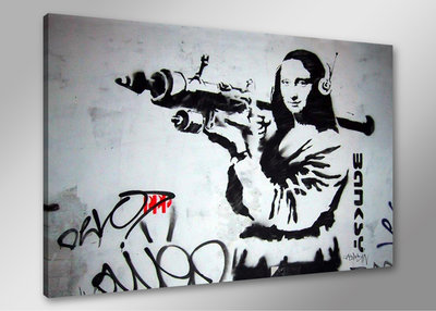 Banksy Mona Lisa - Canvas Schilderij 80 x 60 cm
