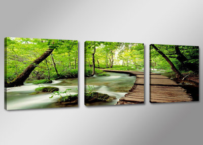 Canvas schilderij drieluik 150 x 50 cm natuur beek for Schilderij natuur
