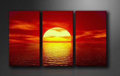Ondergaande Zon - Canvas Schilderij Drieluik 160 x 90 cm