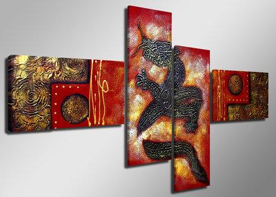 canvas schilderij vierluik 160 x 70 cm chinese draak