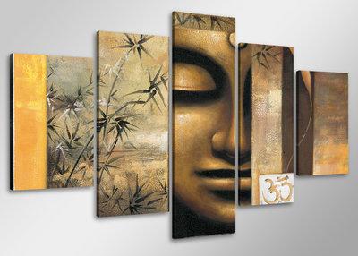 Buddha - Canvas Schilderij Vijfluik 100 x 50 cm