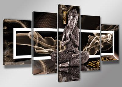 Canvas Schilderij Vijfluik 200 X 100 Cm Buddha Mooie Wanddecoratie Nl